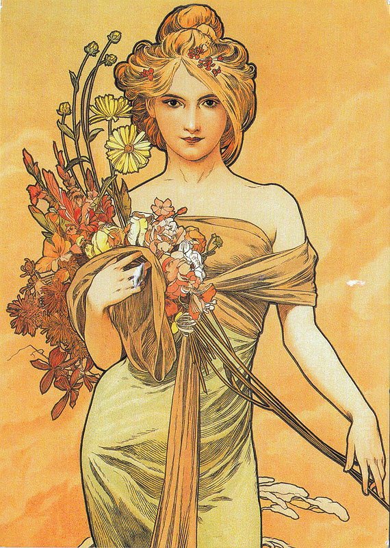 "Eccezionale My POSTCROSSING collection: ""Spring"" (1900), Alphonse Mucha PB28"