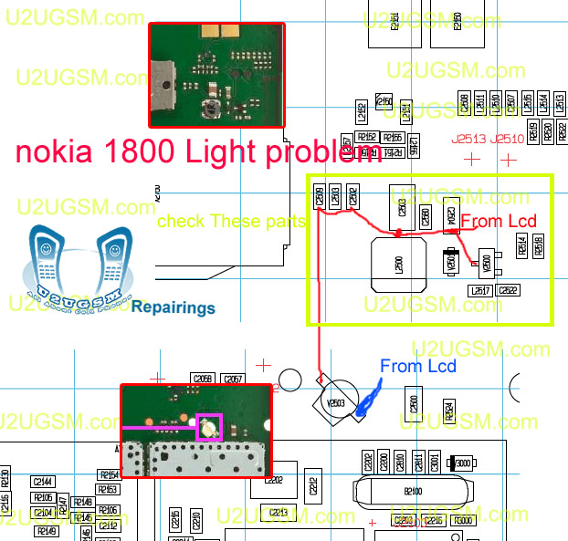 Firmware: Nokia 1800 Lcd and Led Light Problem Solution Ways Jumpers