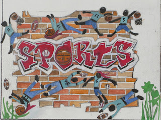 sports mosaic drawing