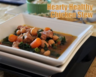 Hearty Healthy Chicken Stew with Chickpeas & Kale ♥ KitchenParade.com, a hearty, one-pot supper dish, with warm spices and fresh vegetables.