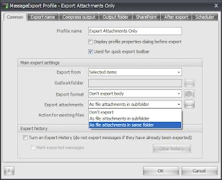 MessageExport add-on common settings tab.