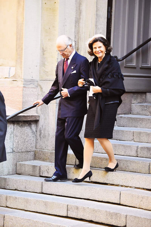 Carl Gustaf and Queen Silvia of Sweden leaving the Cathedral of Stockholm after opening ceremony for the opening of the Swedish Parliament