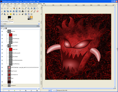 Demon Head Layers in GIMP