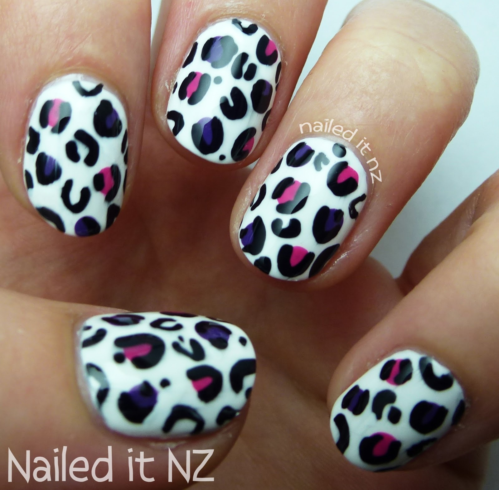 Nail art for short nails #8 - White leopard print nail art
