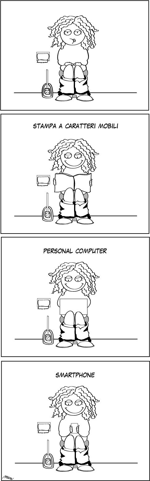 Infografica fumetto sull'evoluzione dei media e il cambiamento degli stili di vita