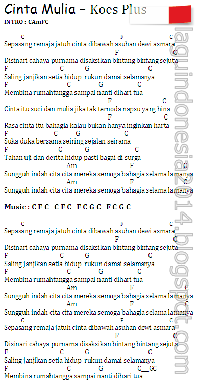 Donwload Mp3 Lagu Indonesia Gratis Lyrics Chord Chord Guitar Cinta Mulia Koes Plus