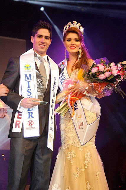 Mister and Miss Peru World 2014 winners Diego Conroy and Sofia del Pilar Rivera Kroll