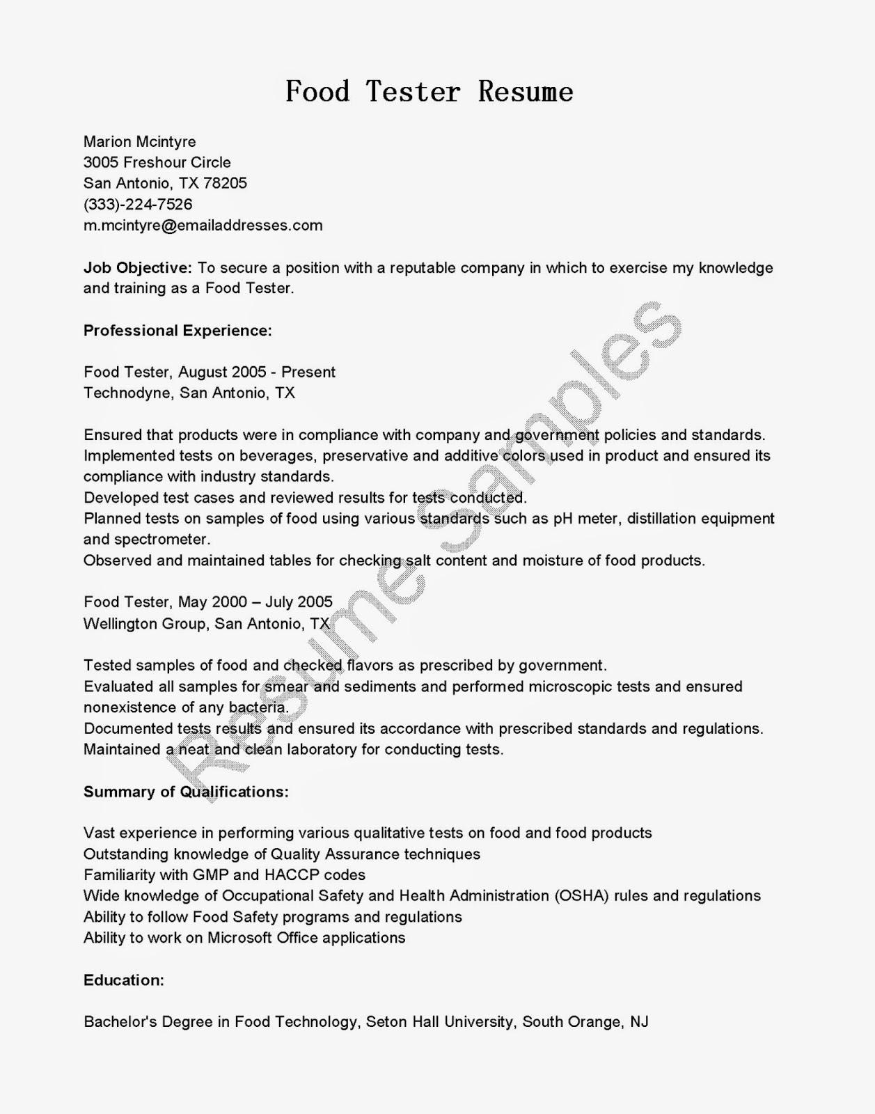 Resume Samples Food Tester Resume Sample