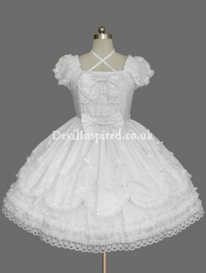Pure White Dolly Two-Layered Sweet Lolita Dress
