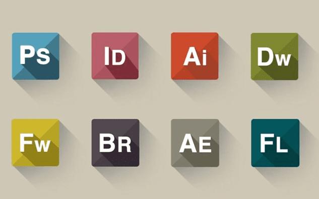 Flat Icon Set Of Adobe Company Product