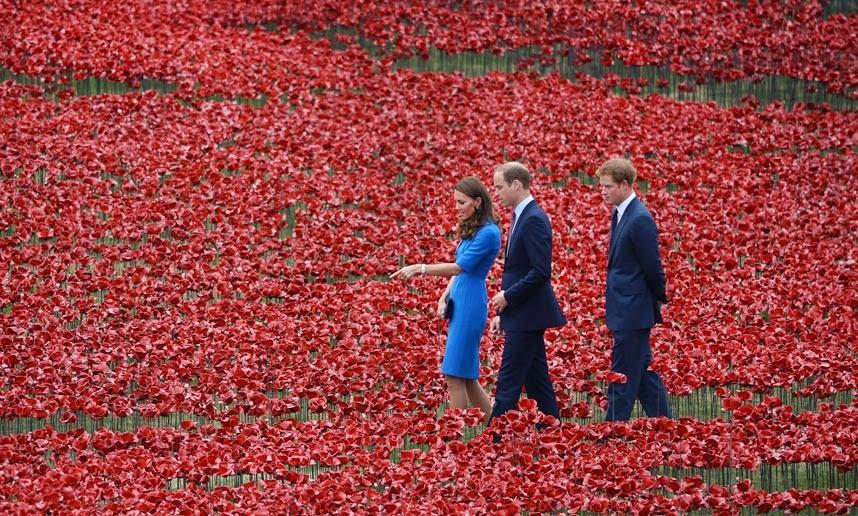 duc, duchesse, cambridge, ,prins, prince ,Harry, GB,tour de Londres,first oorlog,14-18,