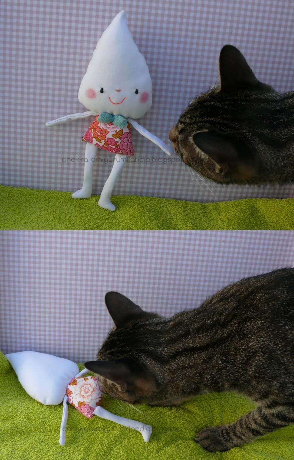 cat and  plush doll anekka handmade