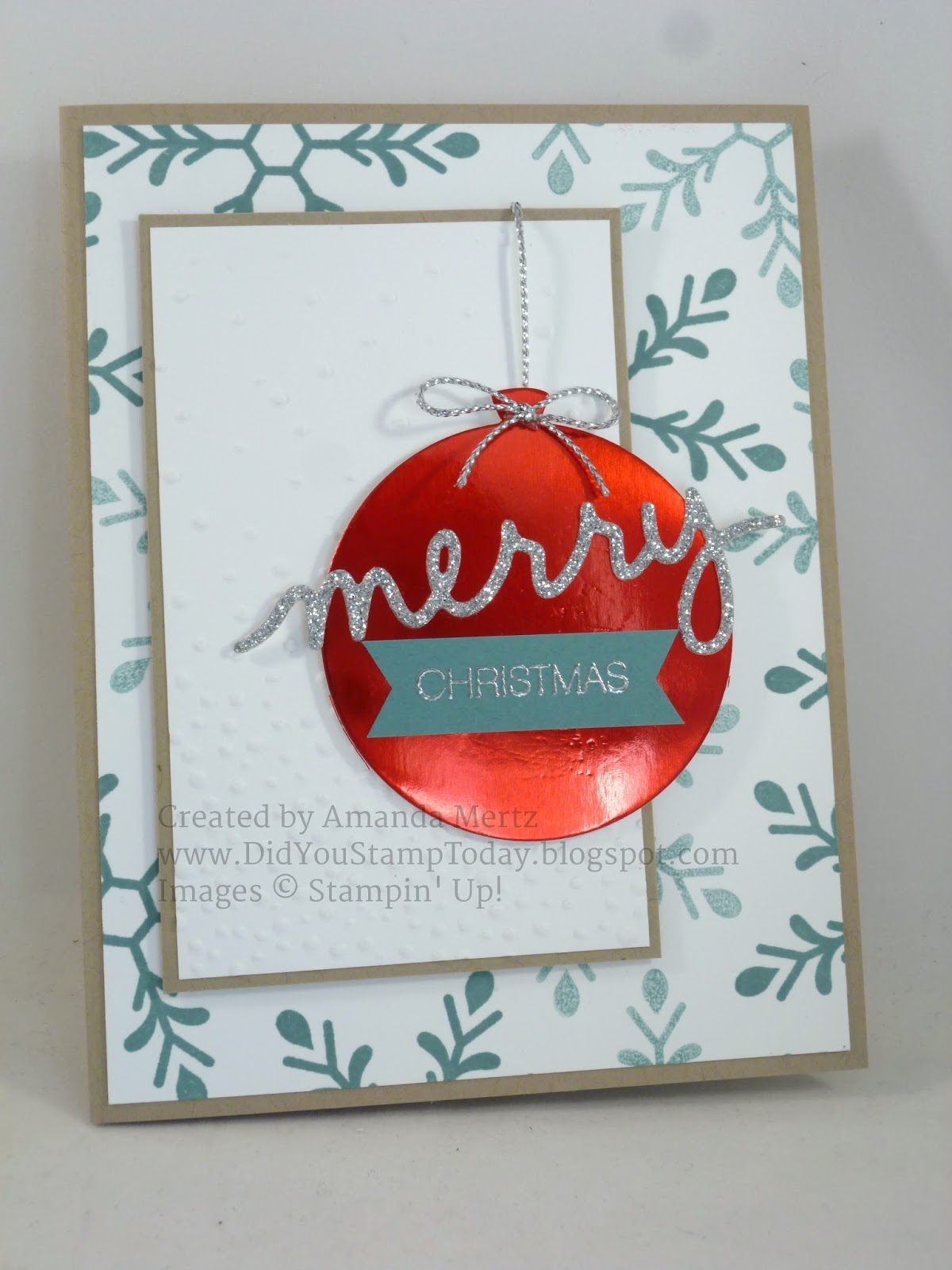 did you stamp today red foil ornament stampin up holly jolly