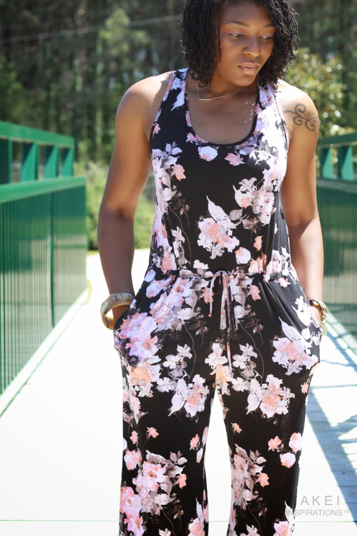styling a floral jumpsuit for spring