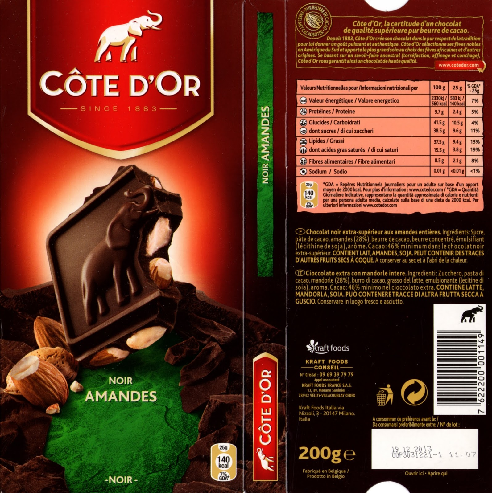 tablette de chocolat noir gourmand côte d'or noir amandes
