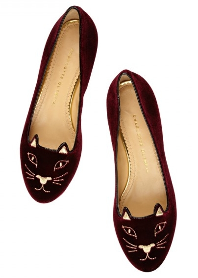 Charlotte Olympia Kitty Flats Burgundy