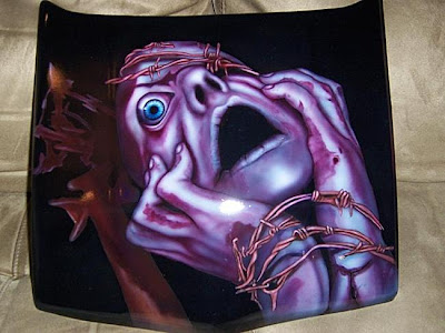 Chicago Custom Airbrush in Car Hood by Voodoo