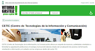 Imagen de la página web del Centro de Estudios de la Tecnología y Comunicación - www.vitoria-gasteiz-org/cetic