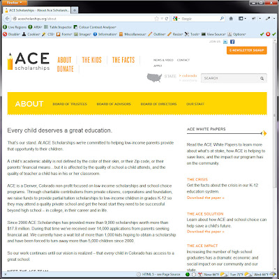 Screen shot of http://acescholarships.org/about.