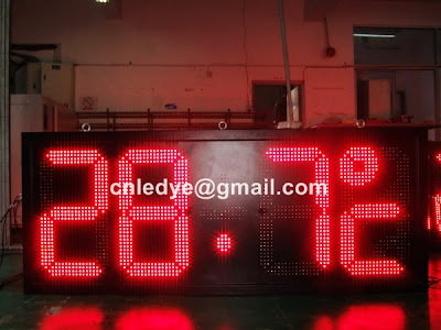 large outdoor led clock red