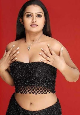 Tamil Actress Vindhiya Hot Navel Show in Black Dress