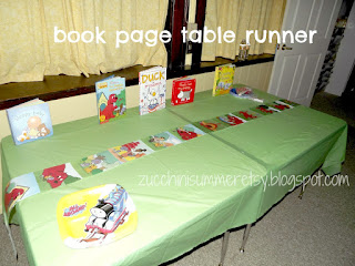 book party, library party, bookworm party, book worm party, reading party, book page table runner