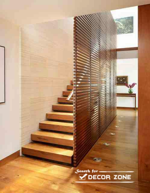 Space Saving Wooden Stairs Designs With Partition