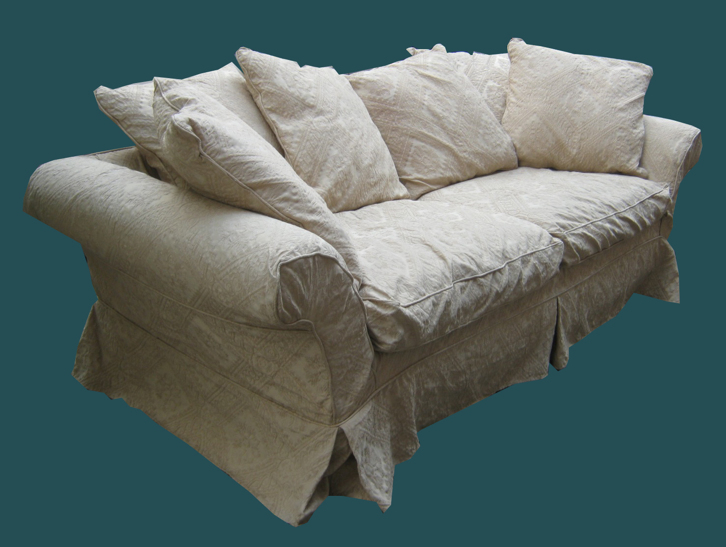 Uhuru Furniture Collectibles Shabby Chic Slipcovered Sleeper Sofa Sold