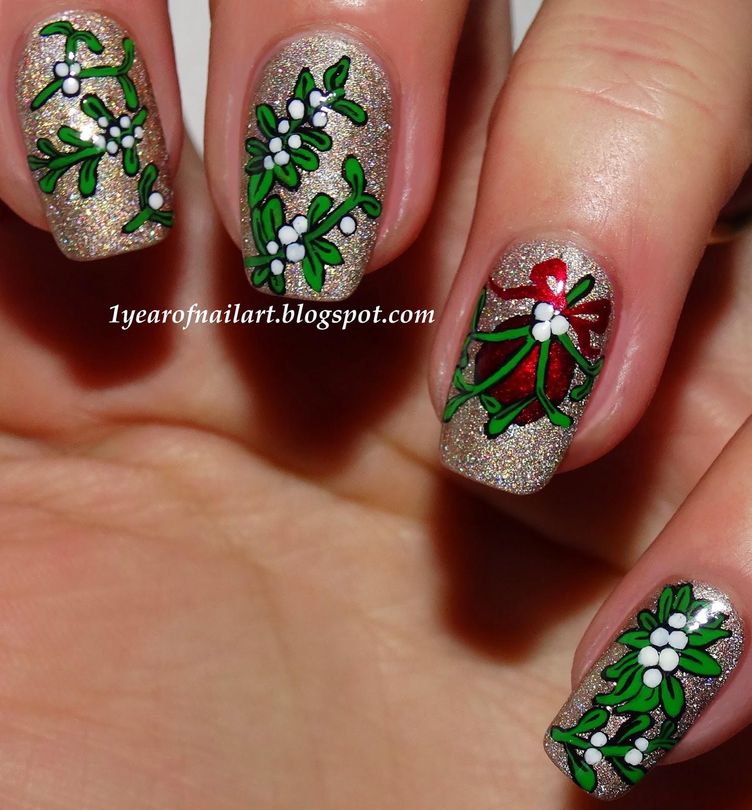 365 Days Of Nail Art March 2014: 365+ Days Of Nail Art: Eight Mistletoe