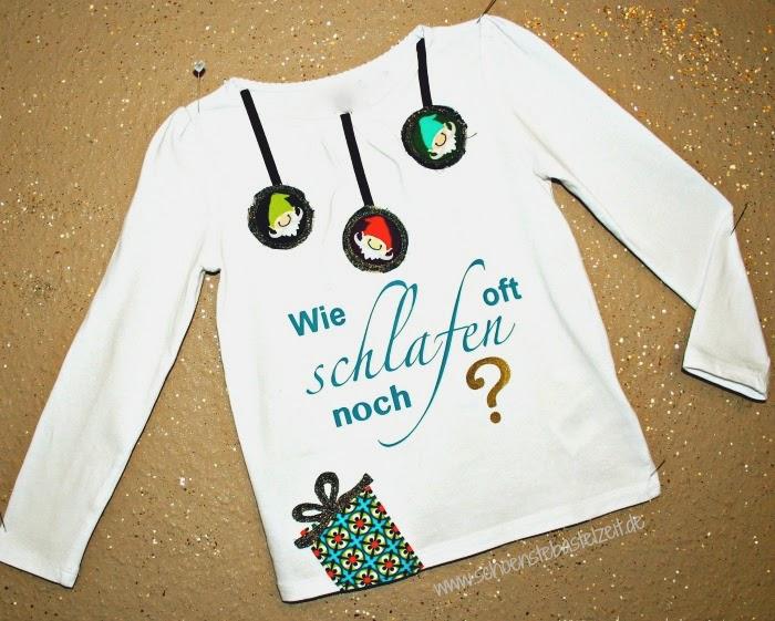 """xmas-Shirt mit der Auschrift """"Wie oft noch schlafen?"""" (c) www.schoenstebastelzeit.de"""