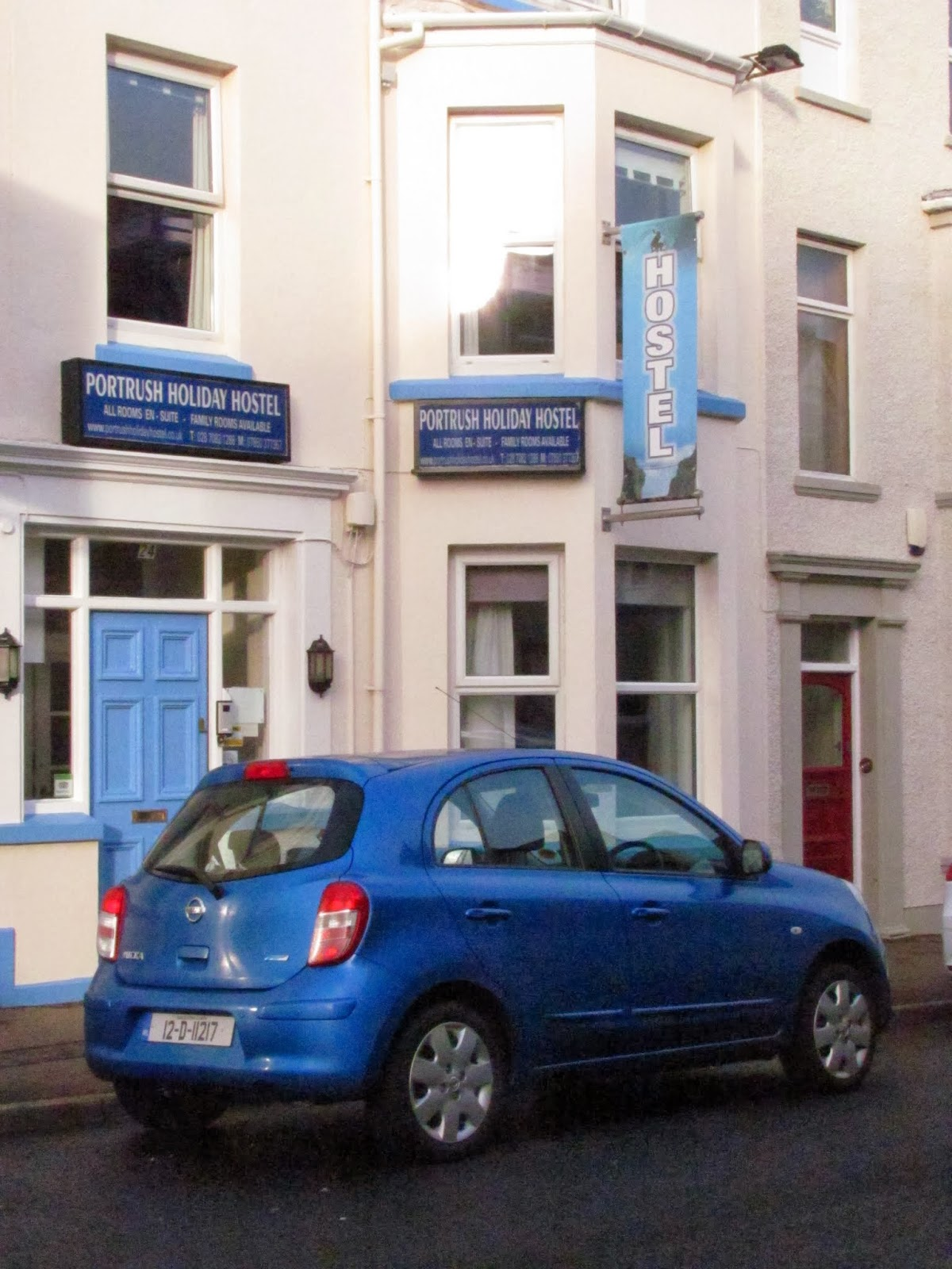Portrush Holiday Hostel and our rental car in Portrush, Northern Ireland