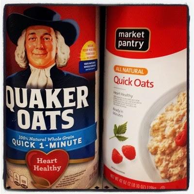 Vegan Vegetarian Food Breakfast Target Oatmeal Quaker Oats 100% Natural Quick 1-Minute Oats and Market Pantry All Natural Quick Oats