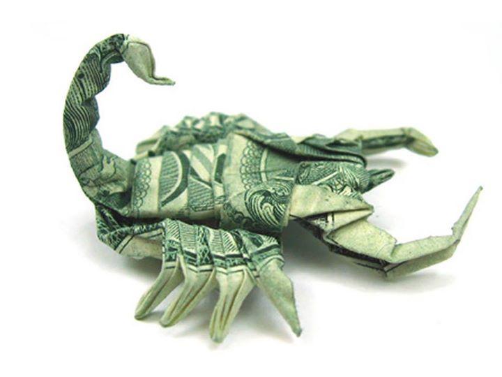 Origami Dollar bentuk scorpio