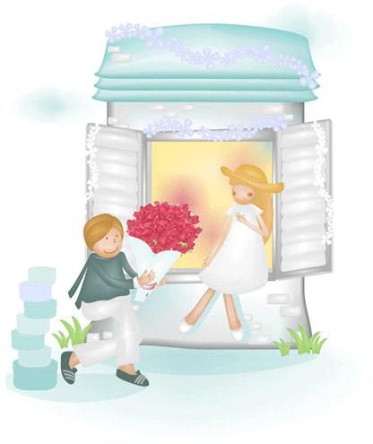 Novia regalando flores