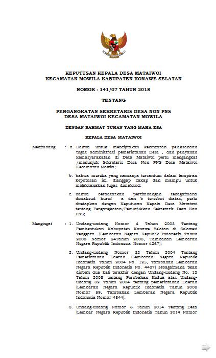 Contoh Format Surat Keputusan Sk Sekdes Sekretaris Desa