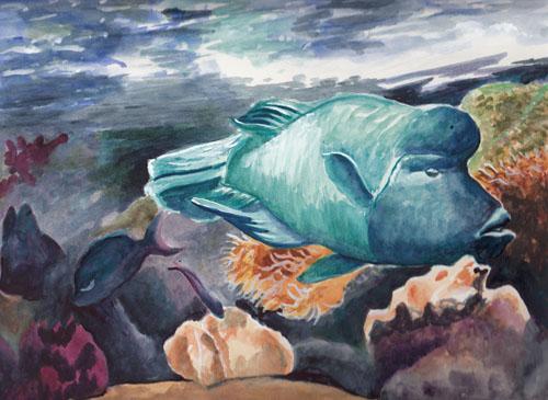 bunny 39 s artwork fish aquarium original watercolor painting. Black Bedroom Furniture Sets. Home Design Ideas