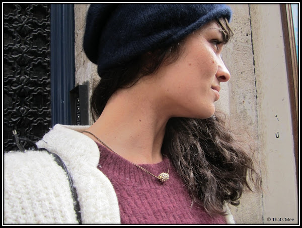 Style de la Semaine Armelle bonnet oir cachemire COS, collier perle Isabel Marant, pull angora H&M, gilet bergere friperie Los Angeles