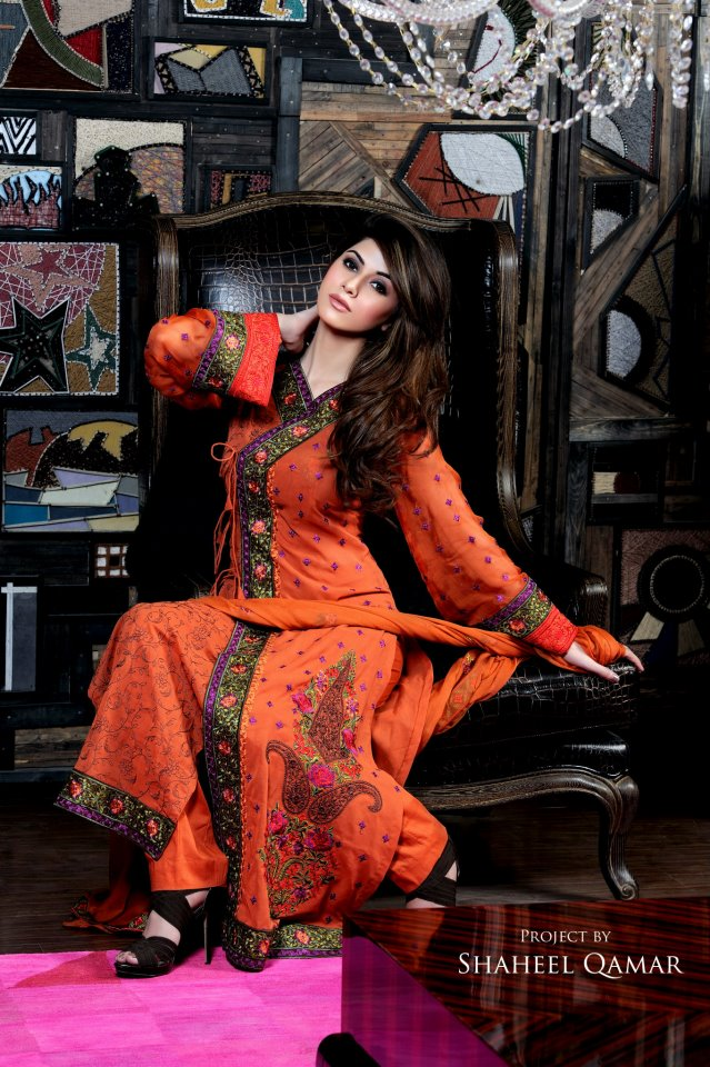Shaista Wahidi orange lawn