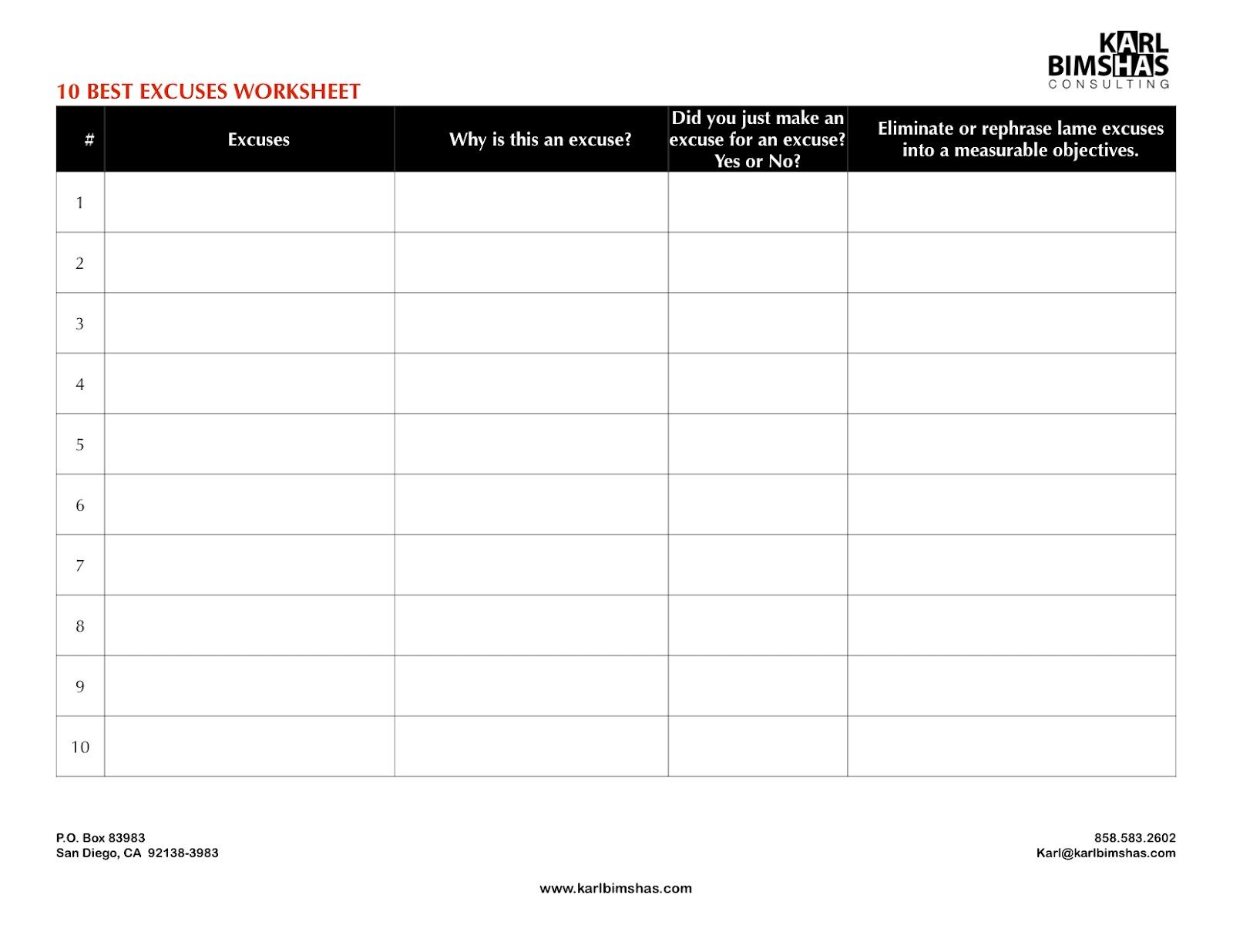 karl with a k 10 best excuses worksheet. Black Bedroom Furniture Sets. Home Design Ideas