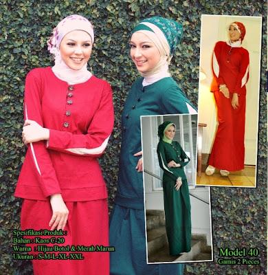 Katalog Busana Muslim Mazaya Hijau botol Merah Maroon