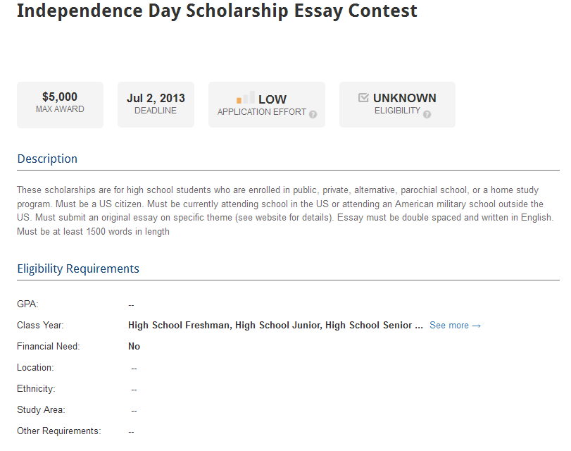 Essay Contests and Scholarships