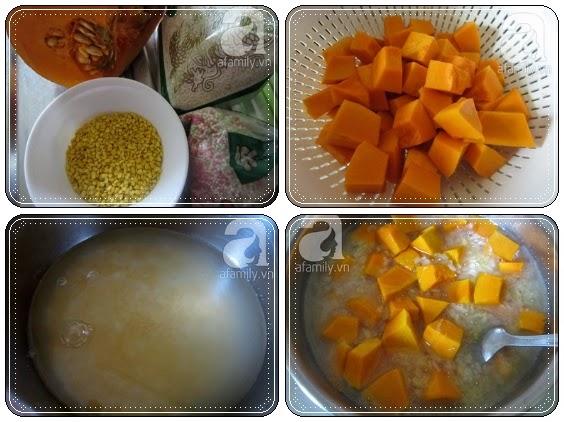Cách nấu chè bí đỏ đậu xanh thơm ngon 1