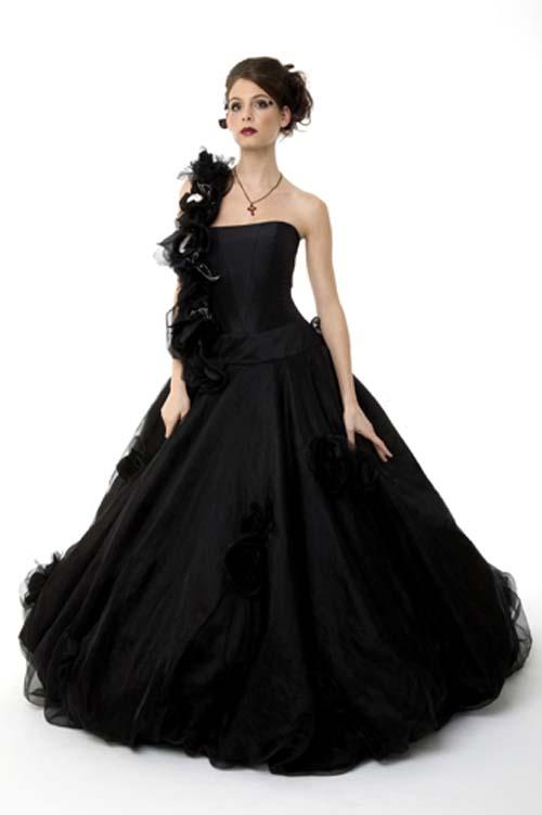 Black wedding dress modern black wedding dress flowers black wedding
