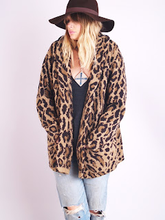 Vintage 1980's leopard print wool cardigan sweater by Ralph Lauren.
