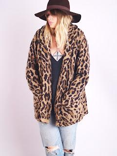 Vintage 1980's leopard print wool cardigan sweater by Ralph Lauren.