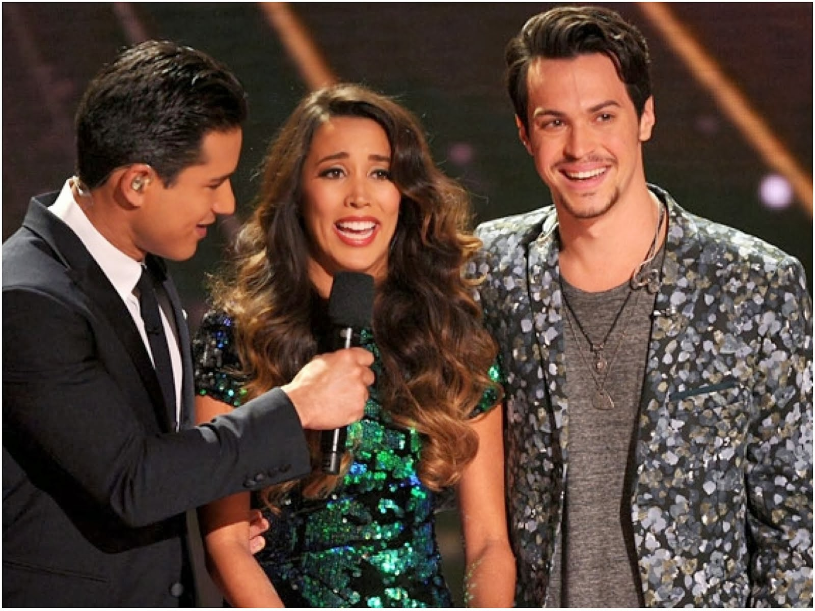Alex Kinsey of Alex & Sierra in Topman BLACK MONOCHROME FLORAL SKINNY BLAZER - X Factor USA Finals