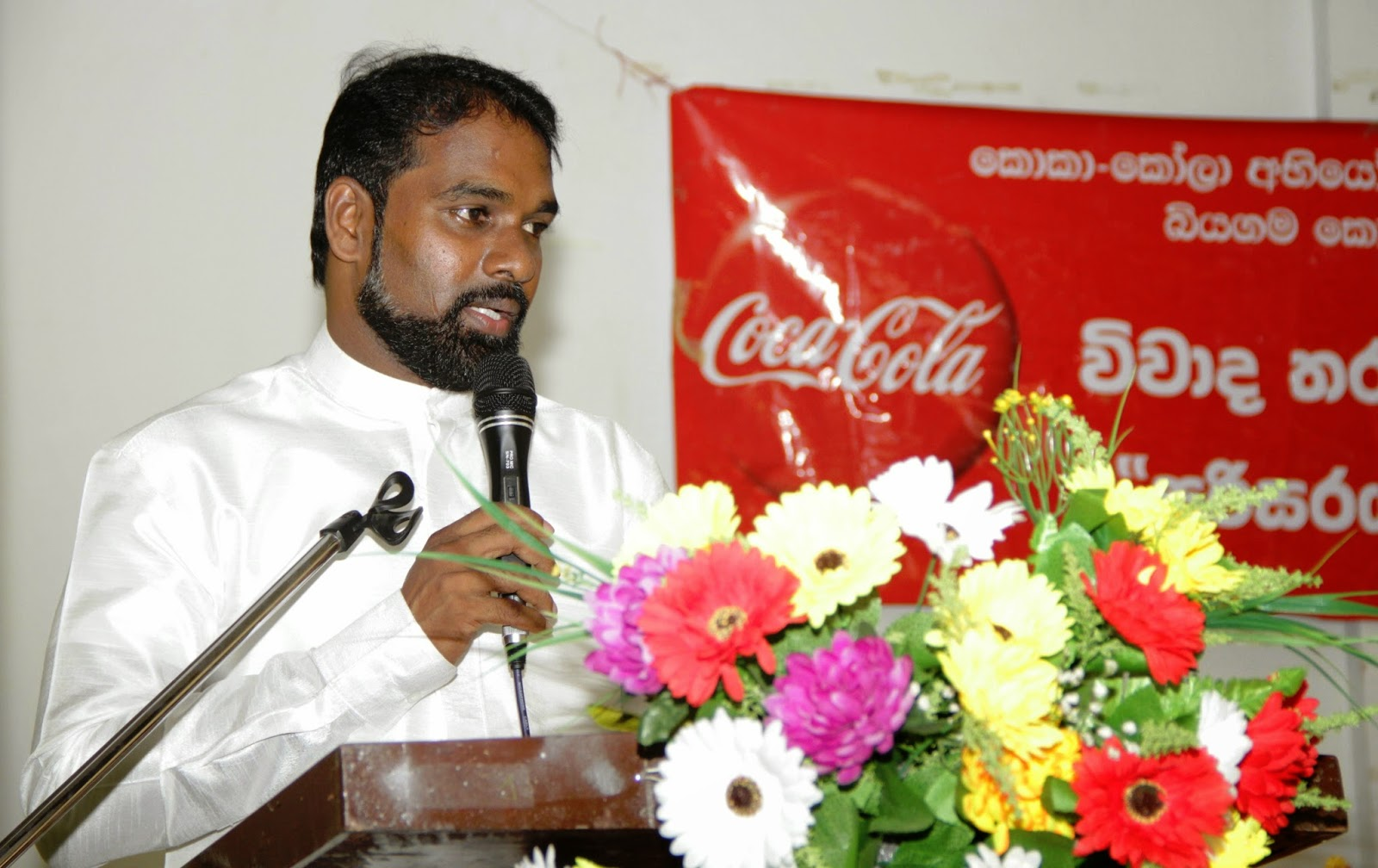 Guest of Honour, Hon. Gunasiri Jayanath, Member of Provincial Council speaks at the event.