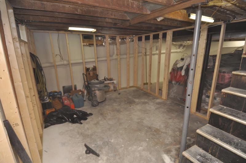 Storage units were built for other side of basement. title=