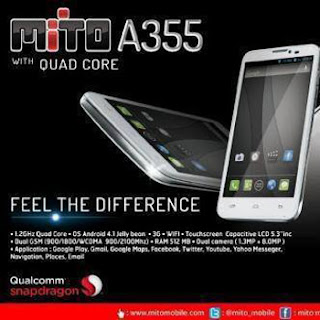 Harga dan Spec MITO A355, HP Android 4.1 Jelly Bean