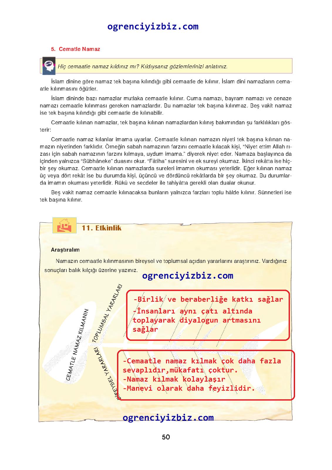6.Sınıf Din Kültürü ve Ahlak Bilgisi  İlke Yayınları Ders Kitabı Sayfa 50  Cevapları